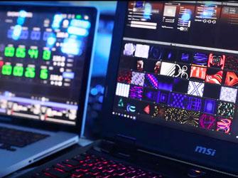 TrackDJ in GrandVJ. Fixture control for the video mapper.